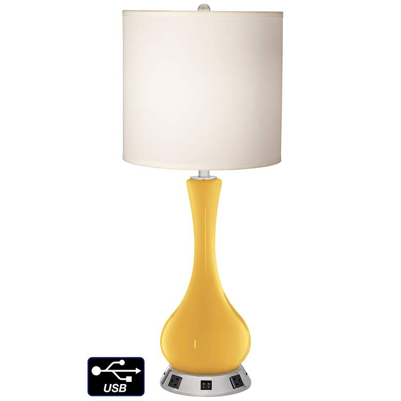 White Drum Vase Table Lamp - 2 Outlets and 2 USBs in Goldenrod