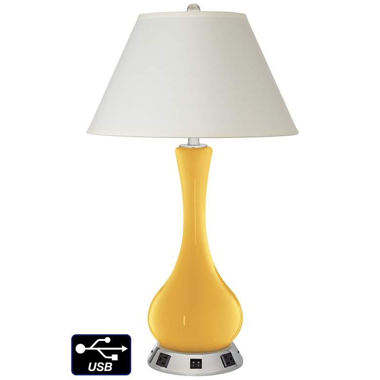 White Empire Vase Table Lamp - 2 Outlets and 2 USBs in Goldenrod