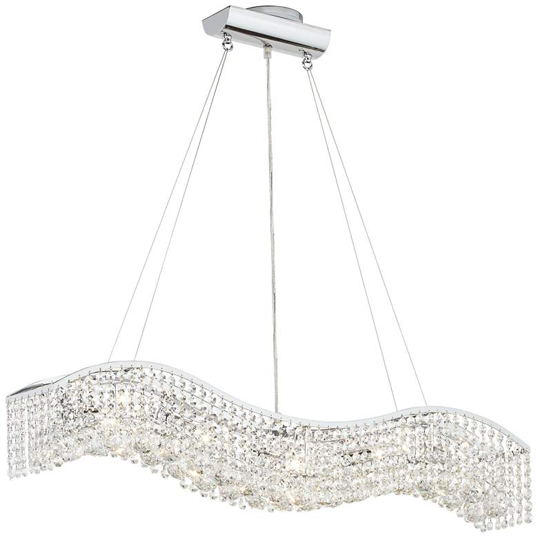 """James R. Moder Crystal Wave 36"""" Contemporary Chandelier"""