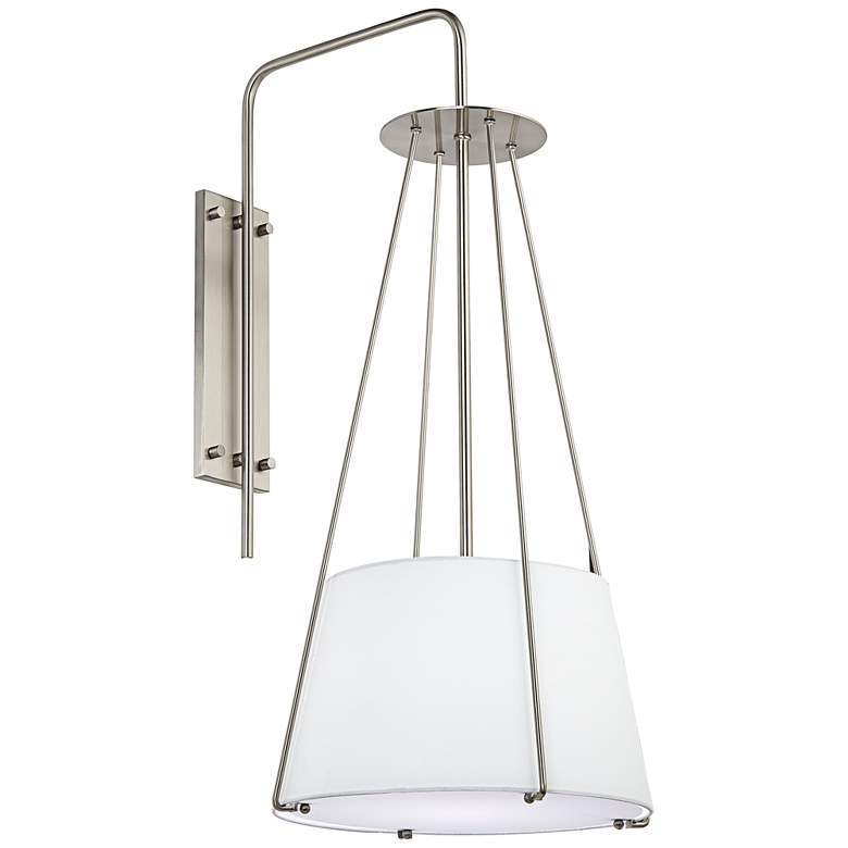 """Modern 32"""" High Brushed Nickel and Linen Shade Plug-In Wall Sconce"""