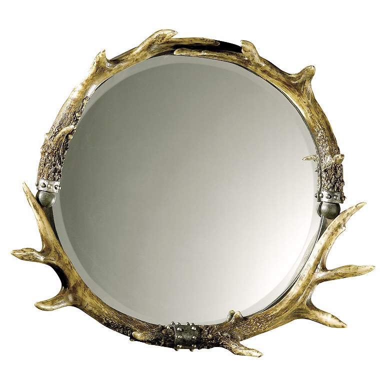 """Stag Horn Faux Antler 26"""" x 24"""" Round Wall Mirror"""