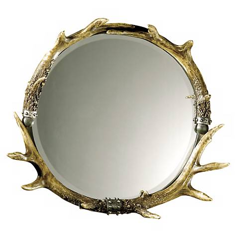 "Stag Horn Faux Antler 26"" x 24"" Wall Mirror"