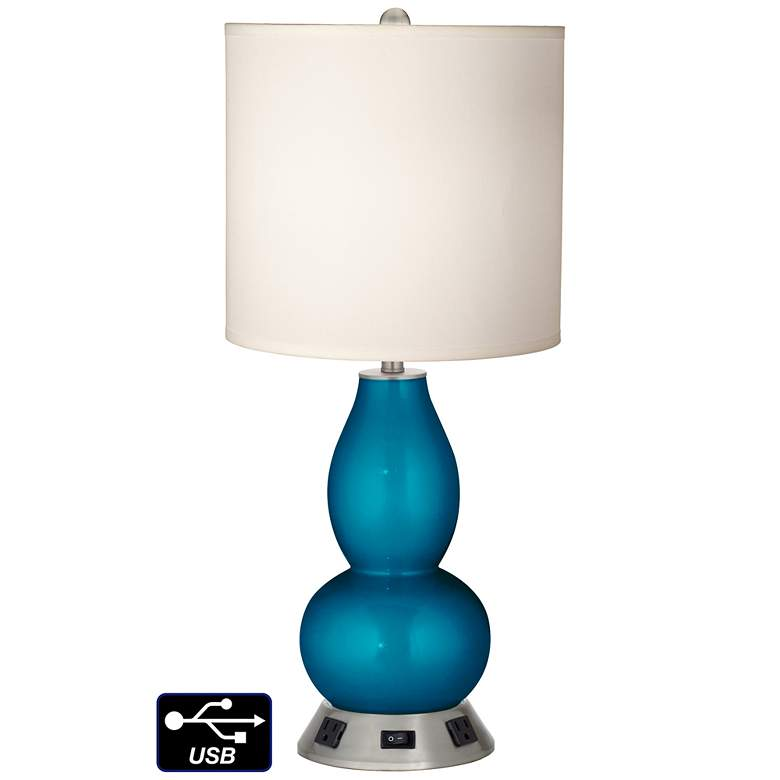 White Drum Gourd Lamp - 2 Outlets and USB in Turquoise Metallic