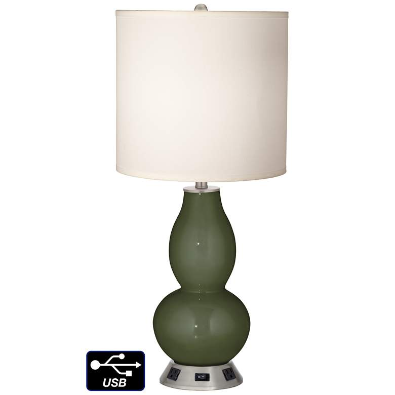 White Drum Gourd Table Lamp - 2 Outlets and USB in Secret Garden