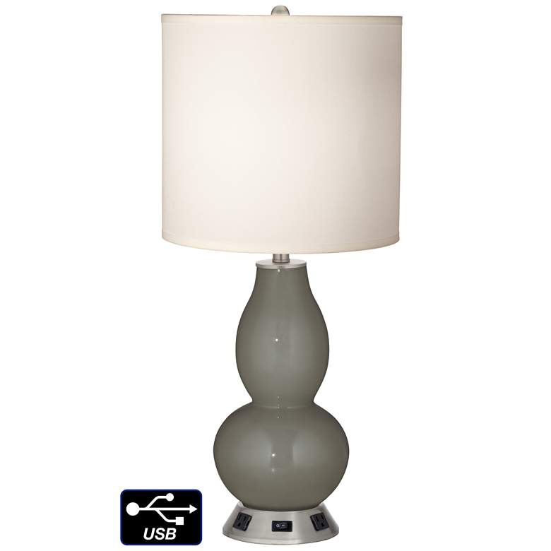 White Drum Gourd Table Lamp - 2 Outlets and USB in Gauntlet Gray