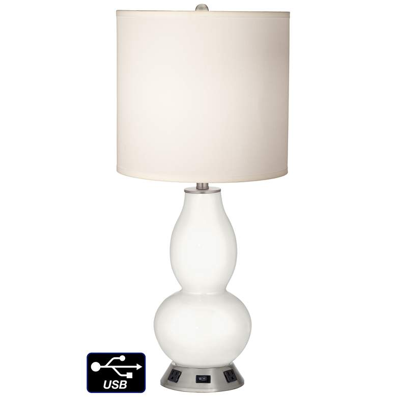 White Drum Gourd Table Lamp - 2 Outlets and USB in Winter White
