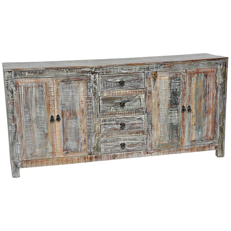 "Hampton 76"" Wide Lime Wash Furniture Buffet"
