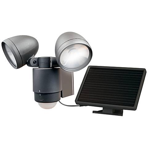 Dark Bronze Dual Head Solar LED Outdoor Security Light