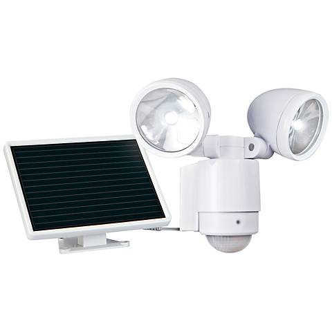 White Dual-Head Solar Powered LED Outdoor Security Light
