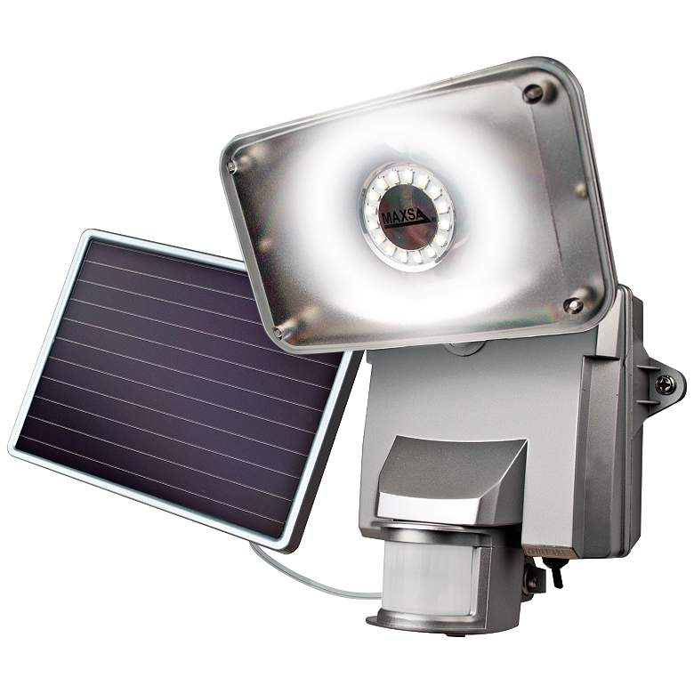 Silver Motion-Activated Solar LED Security Light