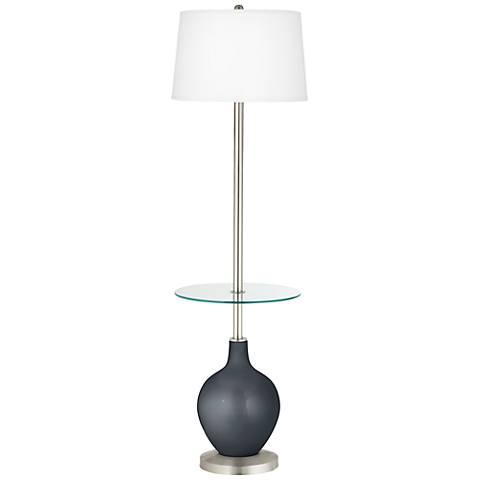 Gunmetal Metallic Ovo Tray Table Floor Lamp