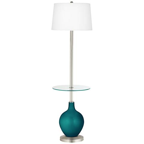 Magic Blue Metallic Ovo Tray Table Floor Lamp