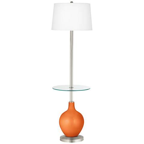 Burnt Orange Metallic Ovo Tray Table Floor Lamp