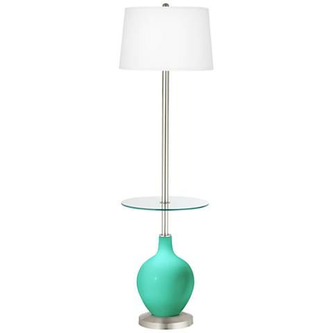 Turquoise Ovo Tray Table Floor Lamp