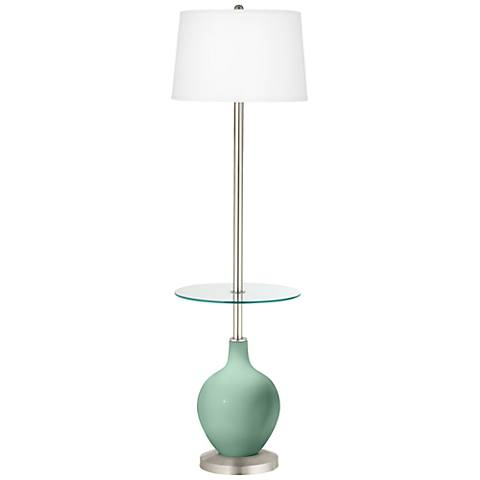 Grayed Jade Ovo Tray Table Floor Lamp
