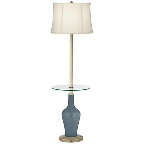 Smoky Blue Anya Tray Table Floor Lamp
