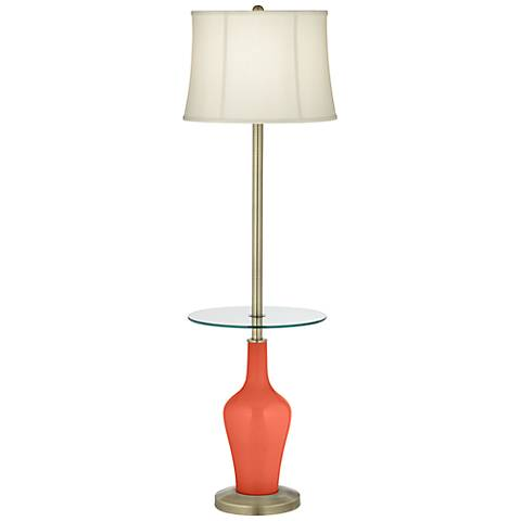 Daring Orange Anya Tray Table Floor Lamp