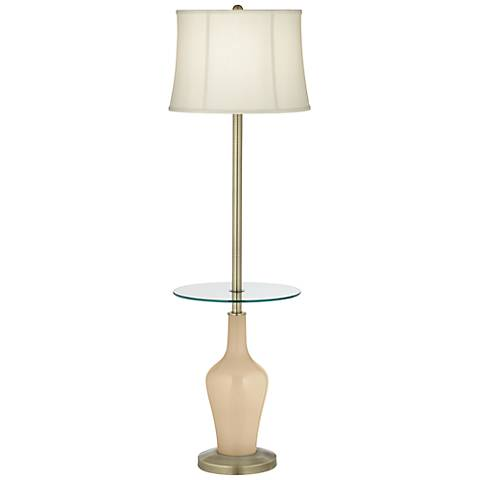 Colonial Tan Anya Tray Table Floor Lamp