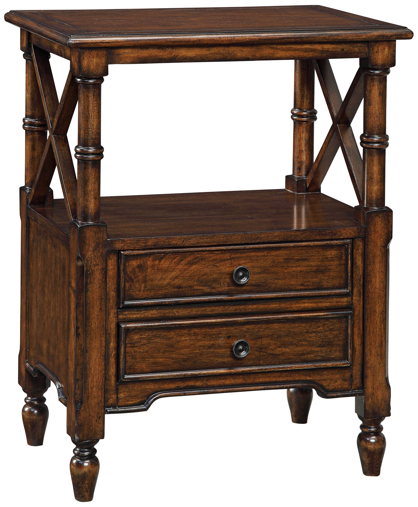 Tamryn Brown Cherry 2 Drawer Accent Table