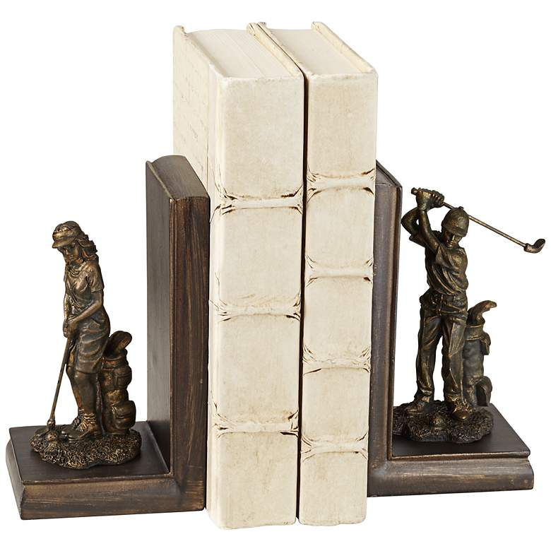 "Lady and Gent 7"" High Golfers Bookends Set"