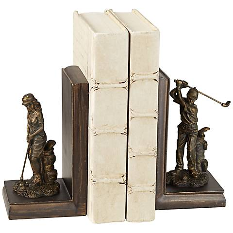 Lady and Gent Golfers Bookends Set