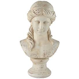 "Classic Greek 17 1/2"" High Antique White Bust Sculpture"