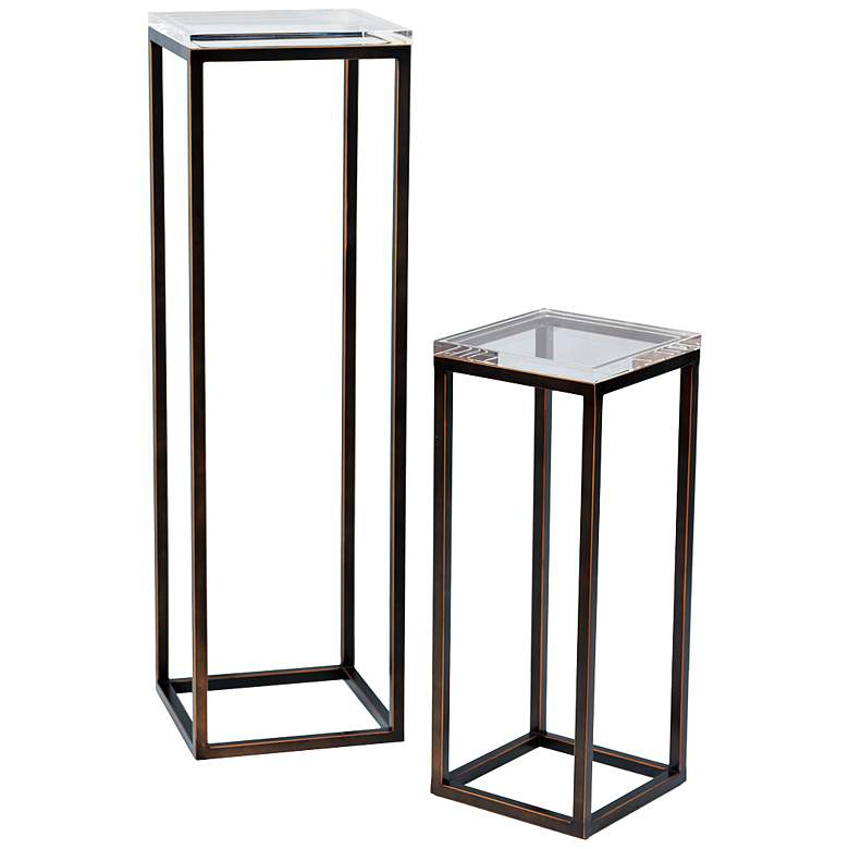 """Drake 25"""" and 40"""" Bronze Lucite Pedestal Tables Set of 2"""