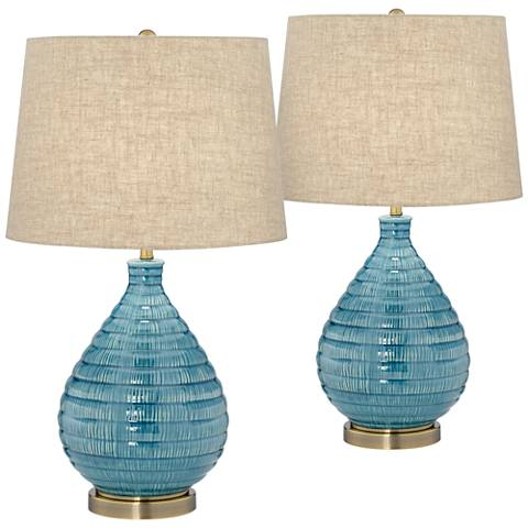 Kayley Blue Ceramic Table Lamp Set of 2