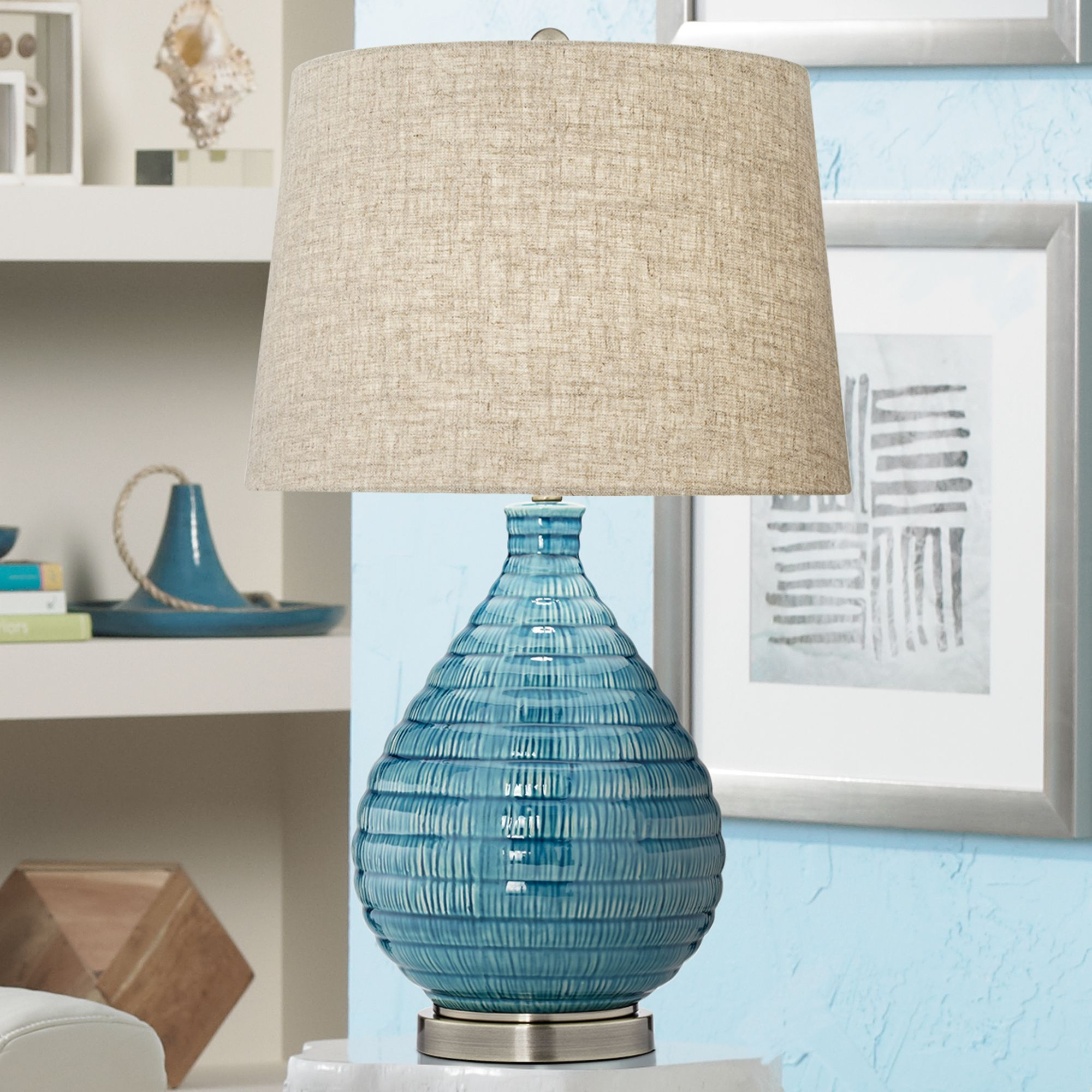 Details About Mid Century Modern Table Lamp Textured Ceramic Sky Blue Glaze For Living Room