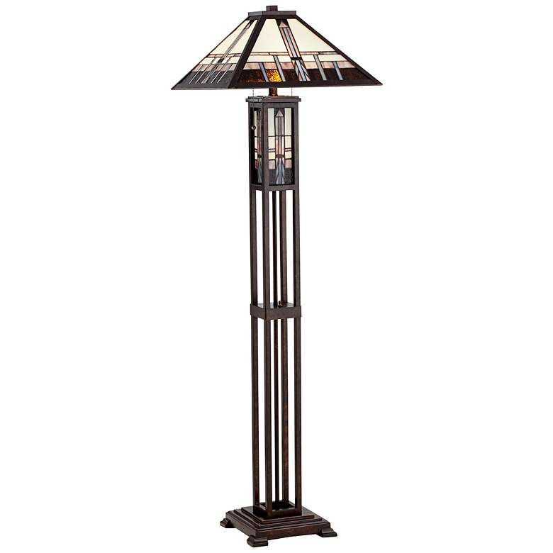 Geometric Art Glass Mission Floor Lamp with Night Light