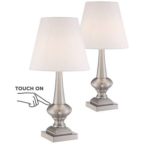 Set of 2 Brooks Brushed Steel Touch On-Off Table Lamps