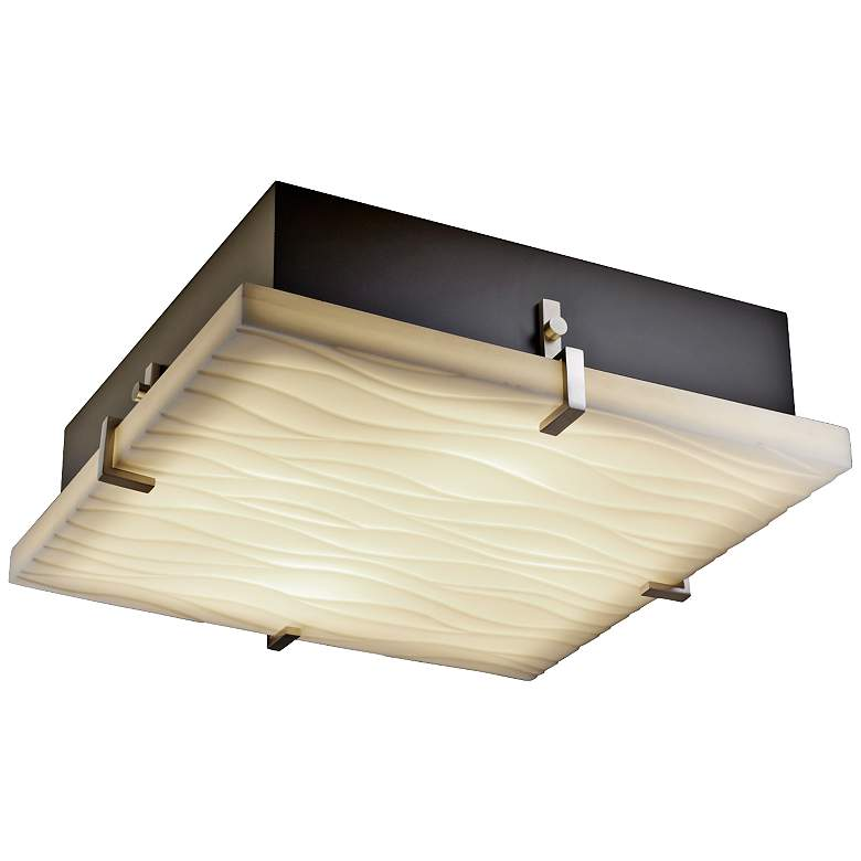 """Justice Clips 16 1/2"""" Wide Nickel Ceiling Light"""