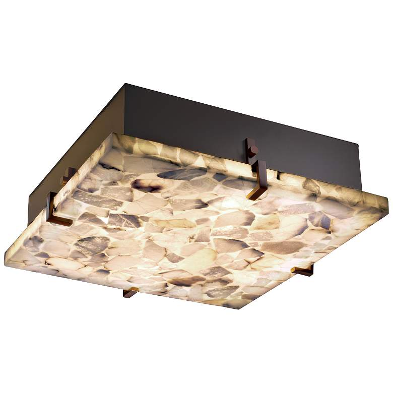 "Justice Clips 16 1/2"" Wide Alabaster Rocks Ceiling Light"
