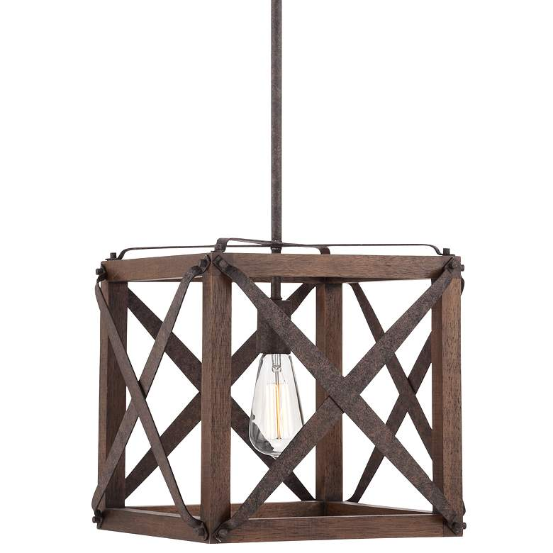 """Oaklyn 14"""" Wide Rust and Brown Wood LED Pendant Light"""