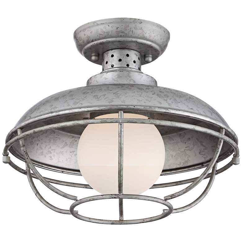"Franklin Park 13""W Galvanized Steel Outdoor Ceiling Light"