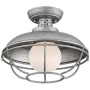 "Franklin Park 13""W Galvanized Steel Outdoor Ceiling Light"