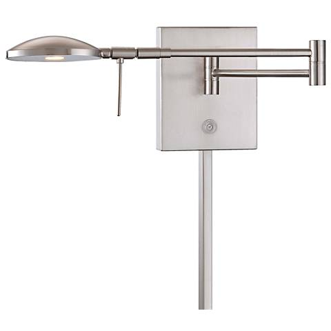 George Kovacs Reading Room Nickel LED Swing Arm Wall Lamp