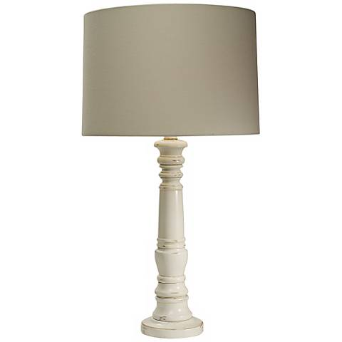 Natural Light Tea Time Distressed White Table Lamp
