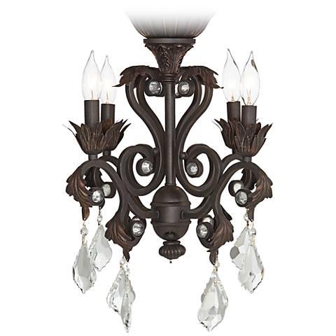 4-Light Rubbed White Chandelier Ceiling Fan Light Kit - #4G156 ...