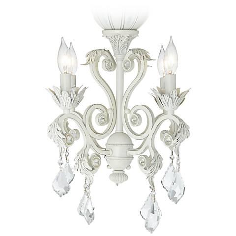 4-Light Rubbed White Chandelier Ceiling Fan Light Kit