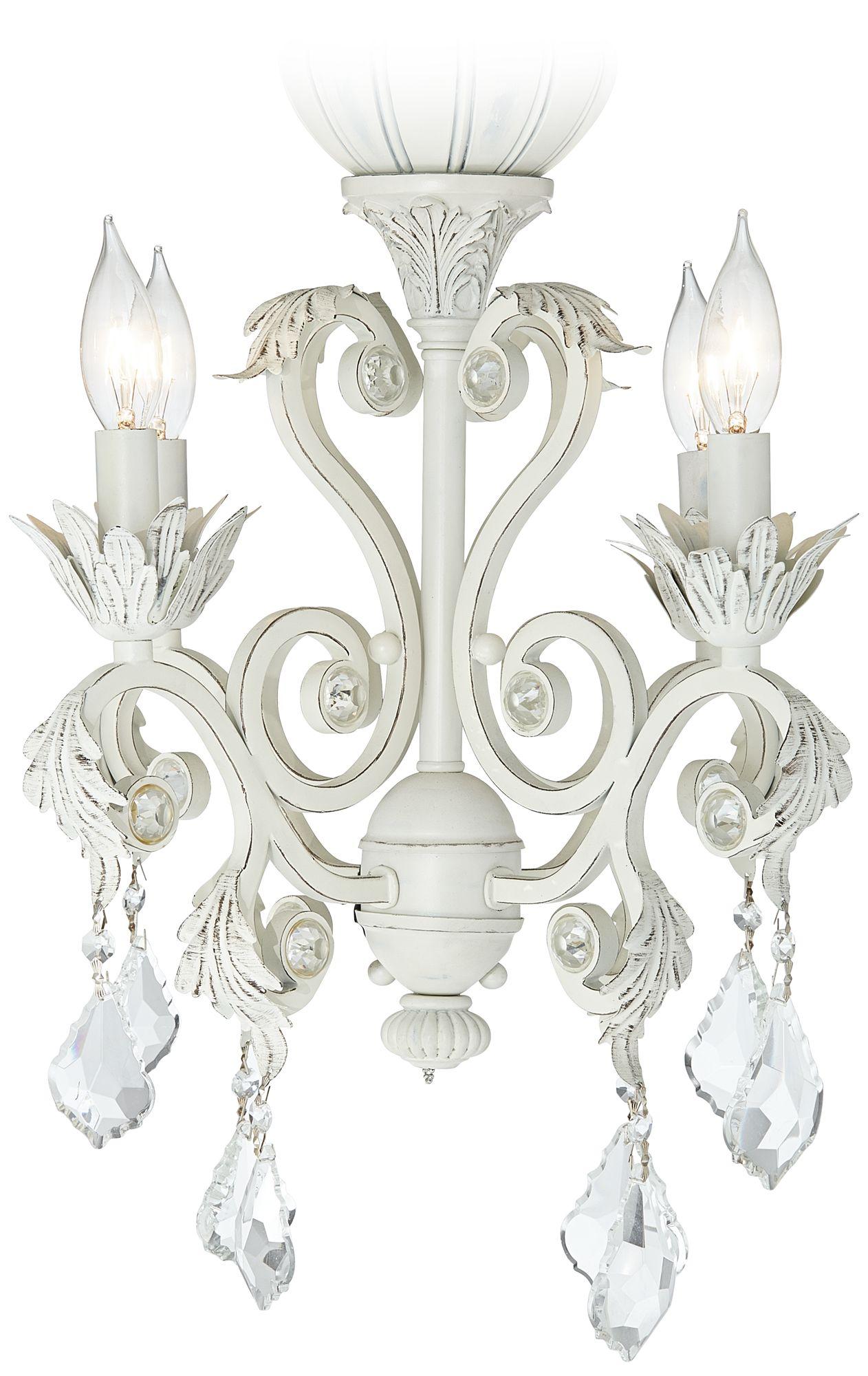 Superb 4 Light Rubbed White Chandelier Ceiling Fan Light Kit