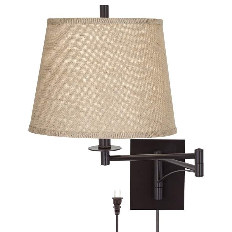 Brinly Burlap Shade Brown Plug-In Swing Arm Wall Lamp