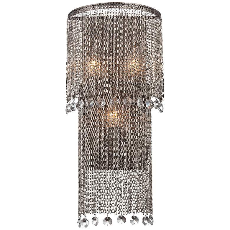"""Shimmering Falls 13"""" High Antique Silver Wall Sconce"""