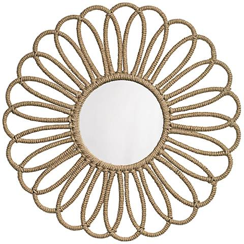"Jamie Young Jute Large Flower 36"" Round Wall Mirror"