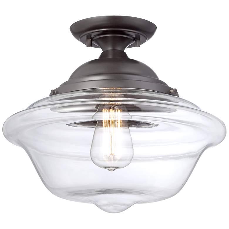 "Possini Euro Schoolhouse 13"" Wide Bronze LED Ceiling Light"