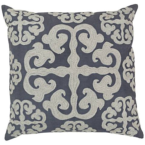 """Surya 18"""" Square Ivory and Gray Scroll Design Pillow"""