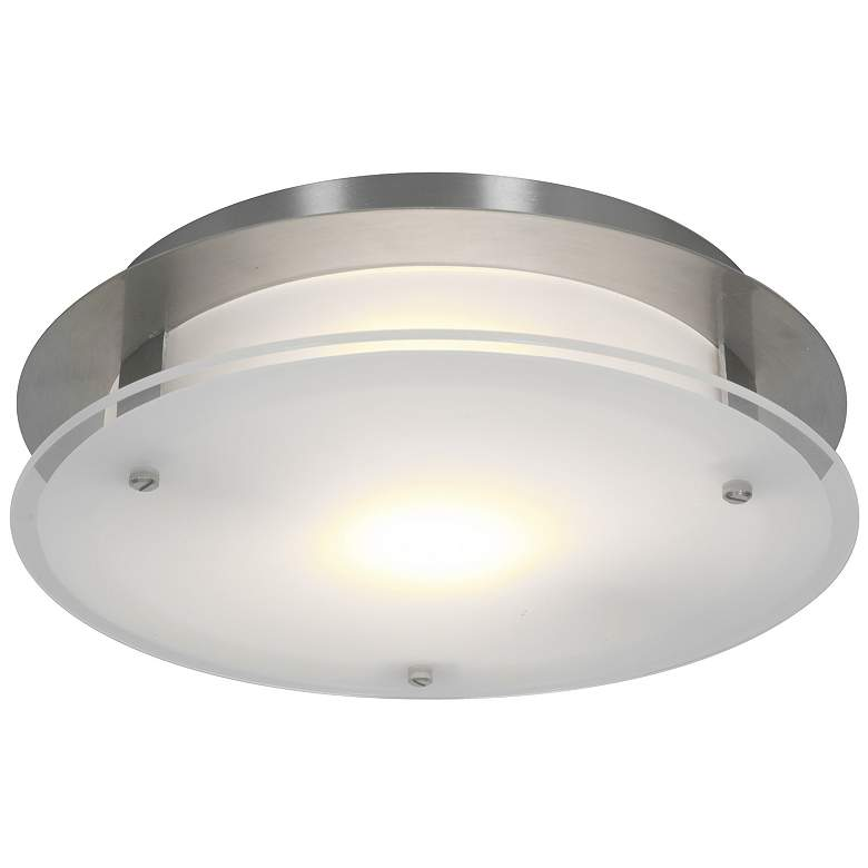 """Access Vision Round 12"""" Wide Brushed Steel LED Ceiling Light"""