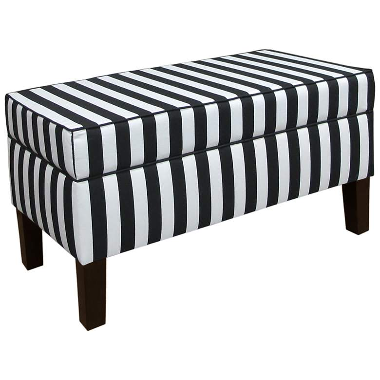 Canopy Stripe Black and White Storage Bench