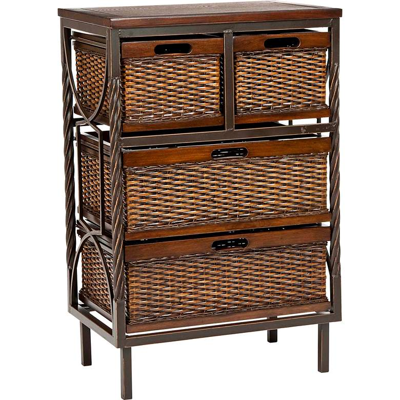 "Turner 20 3/4"" Wide 4-Drawer Rattan and Wood Storage Unit"