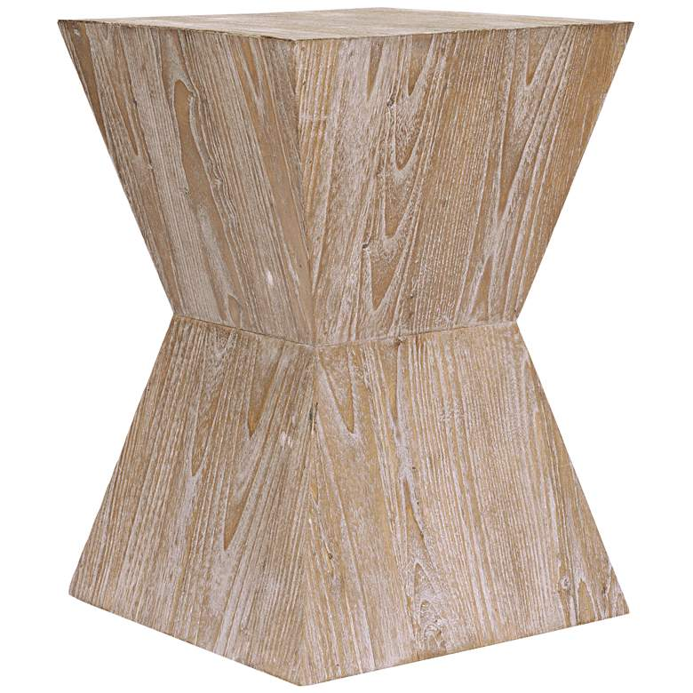"Martil 14"" Wide Distressed Oak Wood Modern Side Table"